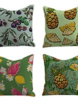 cheap -Set of 4 Linen Cotton / Linen Pillow Cover Pillowcase Sofa Cushion Square Throw Pillow Fig Pineapple Pitaya Lemon Fruit Pillows Case 45*45cm