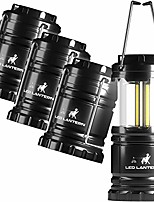 cheap -led camping lantern flashlights 4 pack - super bright - 350 lumen portable outdoor lights - aa batteries required, not included (black, collapsible)