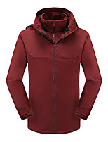 cheap -Men's Hiking Softshell Jacket Hiking 3-in-1 Jackets Ski Jacket Winter Outdoor Solid Color Thermal Warm Windproof Fleece Lining Warm Winter Jacket Top Hunting Fishing Climbing Black Red Dark Blue
