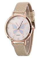 cheap -women's butterfly watches creative pattern quartz watch leather strap belt table watch (beige)
