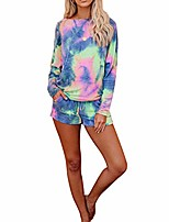 cheap -women ladie miss household clothes tie-dye printed long sleeve tops shirt+elastic shorts set suit outfit 2pcs (style-a,m)