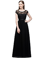 cheap -A-Line Elegant Minimalist Party Wear Formal Evening Dress Illusion Neck Sleeveless Floor Length Lace with Pleats 2020