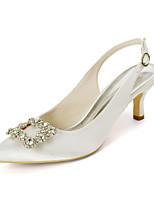 cheap -Women's Wedding Shoes Kitten Heel Pointed Toe Sweet Wedding Party & Evening Rhinestone Solid Colored Satin White / Purple / Dark Purple
