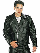 cheap -b7100 'classic' men's black top grade leather motorcycle biker jacket - large