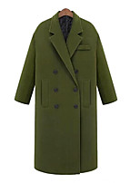 cheap -Women's Fall & Winter Coat Long Solid Colored Daily Active Wool Army Green Dark Gray Navy Blue XS S M L