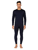 cheap -mens thermal underwear set premium long john base layer fleece lined top and bottom (navy, large)