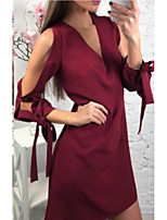 cheap -Women's Shift Dress Short Mini Dress - Long Sleeve Solid Color Patchwork Spring Fall V Neck Casual Sexy Cotton 2020 Black Wine S M L XL
