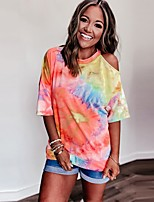 cheap -Women's T-shirt Tie Dye Cut Out Print One Shoulder Tops Basic Basic Top Rainbow