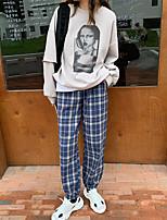 cheap -Women's Loose Pants Pants Plaid Checkered Full Length High Waist Black Blue