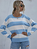 cheap -Women's Blouse Shirt Striped Color Block Long Sleeve Patchwork Round Neck Tops Loose Basic Basic Top Light Blue