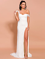cheap -Sheath / Column Sexy bodycon Prom Formal Evening Dress One Shoulder Sleeveless Sweep / Brush Train Lace with Split 2020