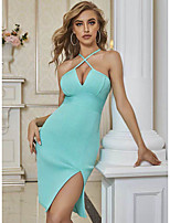 cheap -Sheath / Column Sexy bodycon Party Wear Cocktail Party Dress Halter Neck Sleeveless Knee Length Spandex with Ruched Split 2020