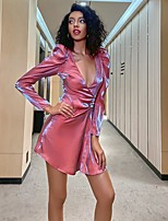 cheap -Women's A-Line Dress Short Mini Dress - Long Sleeve Solid Color Patchwork Fall Casual 2020 Orange M