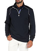 cheap -Men's Golf Zip Top Long Sleeve Autumn / Fall Spring Winter UV Sun Protection Breathable Quick Dry Cotton Half Zip Solid Color Orange Khaki Dark Navy / Stretchy