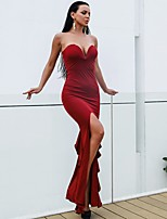 cheap -Mermaid / Trumpet Celebrity Style Sexy Party Wear Wedding Guest Dress Strapless Sleeveless Floor Length Spandex with Sleek 2020