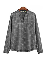 cheap -Women's Blouse Shirt Plaid Long Sleeve Patchwork Standing Collar Tops Basic Basic Top Gray