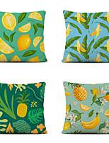 cheap -Cushion Cover 4PC Linen Soft Decorative Square Throw Pillow Cover Cushion Case Pillowcase for Sofa Bedroom 45 x 45 cm (18 x 18 Inch) Superior Quality Mashine Washable Lemon Banana Fruit