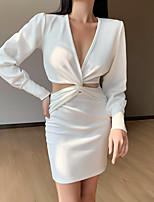 cheap -Women's Sheath Dress Short Mini Dress - Long Sleeve Solid Color Patchwork Fall Sexy Puff Sleeve 2020 White Black S M L