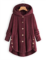 cheap -Women's Fall & Winter Coat Long Solid Colored Daily Active Black Yellow Blushing Pink Wine S M L XL / Loose