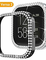 cheap -compatible for fitbit versa 2 case, [2 pack] bling glossy women girl dressy crystal diamonds pc protective bumper watch cover cases for fitbit versa2 (silver+black)