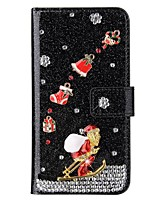 cheap -Case For Samsung Galaxy Note 20 Ultra Wallet Card Holder Christmas Glitter Shine Pearl Diamond Buckle PU Leather Case For Samsung S20 Plus S10 Plus S9 Plus S8 Plus S7 Edge Note 10 Plus A51 A71