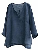 cheap -men cotton linen shirts,mens brief breathable comfy solid color long sleeve loose casual t shirt blouse (xxxxxl, navy)
