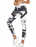 cheap -high waist yoga pant mesh patchwork print workout 4 way stretch yoga leggings pant black