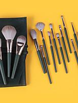 cheap -14 Pcs Makeup Brush Set Green Makeup Brush Loose Powder Brush Blush Brush Set Beauty Tools