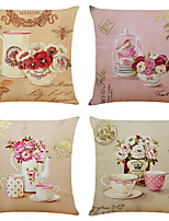 cheap -Set of 4 Sweet Tea Set Linen Square Decorative Throw Pillow Cases Sofa Cushion Covers 18x18