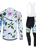 cheap -WECYCLE Men's Women's Long Sleeve Cycling Jersey Cycling Tights Winter White Black Black / White Floral Botanical Bike Breathable Quick Dry Sports Graphic Mountain Bike MTB Road Bike Cycling Clothing