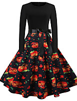cheap -Pumpkin Dress Adults Women's Vacation Dress Halloween Halloween Festival / Holiday Polyster Black Women's Easy Carnival Costumes