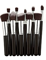 cheap -10pcs/set pro cosmetic makeup brush brushes set foundation powder eyeshadow silver&black