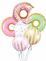 cheap -donut balloons birthday party decorations - pack of 6, donut mylar balloon for donut theme party supplies, baby shower, home office decor, birthday backdrop