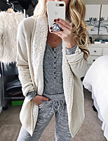cheap -Women's Fall & Winter Teddy Coat Long Solid Colored Daily Basic White L XL