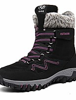 cheap -womens winter snow boots warm fur lined anti-slip ankle hiking booties outdoor walking shoes non-slip trekking shoes black size6