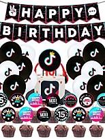cheap -tik tok birthday party decorations,tik tok party supplies - tik tok happy birthday cake topper and tik tok birthday banner for girl's music karaoke themed party supplies