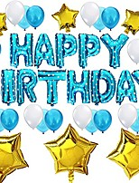 cheap -birthday party decorations set - happy birthday balloon letters banner, 6 pcs gold mylar foil star, 21pcs latex balloons, perfect birthday party supplies (blue)