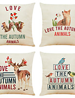 cheap -Set of 4 I love Autumn Linen Square Decorative Throw Pillow Cases Sofa Cushion Covers 18x18