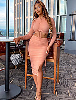 cheap -Women's Basic Solid Color Daily Two Piece Set V Neck Crop Skirt Backless Patchwork Drawstring Tops / Slim