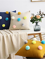 cheap -Pillow Case Button Hair Ball Home Pure Color Flannel Pillow, Pillow, Office Sofa, Simple Waist Pillow Cushion