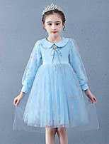 cheap -Princess Cosplay Costume Masquerade Girls' Movie Cosplay A-Line Slip Vacation Blue Dress Shawl Halloween Children's Day Masquerade Organza Cotton
