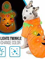 cheap -jack-o-lantern dog pumpkin costume for small dogs | halloween dog sweater with blinking lights | light-up xs dog costume for teacup dogs, puppies and cats | cat sweater | size teacup