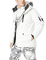 cheap -men's hard shell bubble outerwear long jacket with multi function, white, large