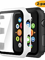 cheap -(2 pack) case compatible with apple watch series 3 series 2 38mm, built-in ultra thin hd tempered glass screen protector overall cover replacement for iwatch series 3/2, black/white