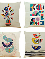 cheap -Set of 4 Art Bird Linen Square Decorative Throw Pillow Cases Sofa Cushion Covers 18x18