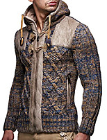 cheap -leif nelson ln20525 men's knit zip-up jacket with geometric patterns and leather accents,brown,us-l / eu-xl