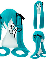 cheap -Vocaloid Sakura Miku Cosplay Wigs Women's With 2 Ponytails 32 inch Heat Resistant Fiber Straight Black Green Teen Adults' Anime Wig