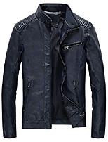 cheap -leather jacket men black slim fit motorcyle lightweight, blue, medium