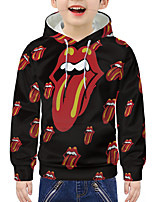 cheap -Kids Boys' Active 3D Graphic Print Long Sleeve Hoodie & Sweatshirt Red