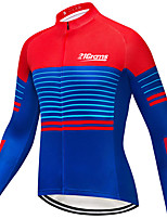 cheap -21Grams Men's Long Sleeve Cycling Jacket Winter Blue Bike Jacket Mountain Bike MTB Road Bike Cycling Breathable Warm Sports Clothing Apparel / Stretchy